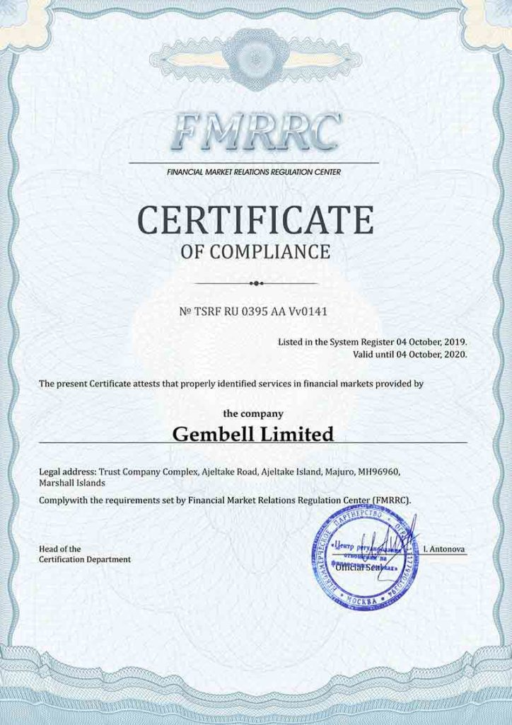 Pocket Option - Certificate of Compliance for Financial Services